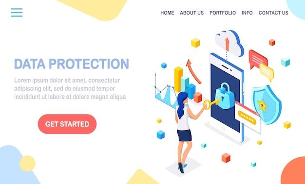 Protección de datos. seguridad en internet, acceso privado con contraseña. mujer isométrica, teléfono con cerradura