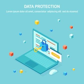 Protección de datos. seguridad en internet, acceso privado con contraseña. pc de computadora isométrica, computadora portátil con llave, cerradura.