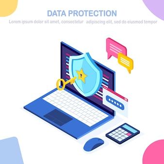 Protección de datos. seguridad en internet, acceso privado con contraseña. pc de computadora isométrica con llave, cerradura, escudo, burbuja de mensaje.