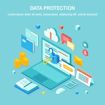 Protección de datos. seguridad en internet, acceso privado con contraseña. pc isométrica con llave, candado abierto, carpeta, nube, documentos, computadora portátil, dinero.