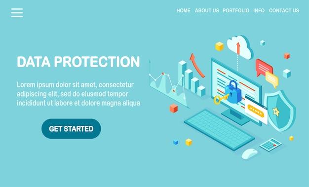 Protección de datos. seguridad en internet, acceso privado con contraseña. pc isométrica con llave, cerradura, escudo.