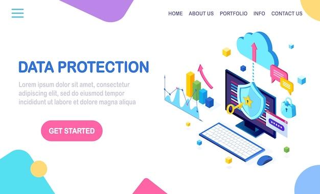 Protección de datos. seguridad en internet, acceso privado con contraseña. pc isométrica con llave, cerradura.