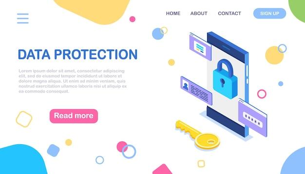 Protección de datos. seguridad en internet, acceso privado con contraseña. teléfono isométrico 3d con llave, cerradura