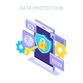Protección de datos. seguridad en internet, acceso privado con contraseña. teléfono isométrico, llave, escudo de bloqueo