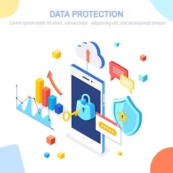 Protección de datos. seguridad en internet, acceso privado con contraseña. teléfono móvil isométrico con llave, cerradura, escudo, nube, bocadillo, teléfono inteligente, dinero, gráfico, gráfico.