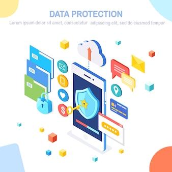 Protección de datos. seguridad en internet, acceso privado con contraseña. teléfono móvil isométrico con llave, escudo, candado, carpeta, nube, documentos, tarjeta de crédito, dinero, mensaje.