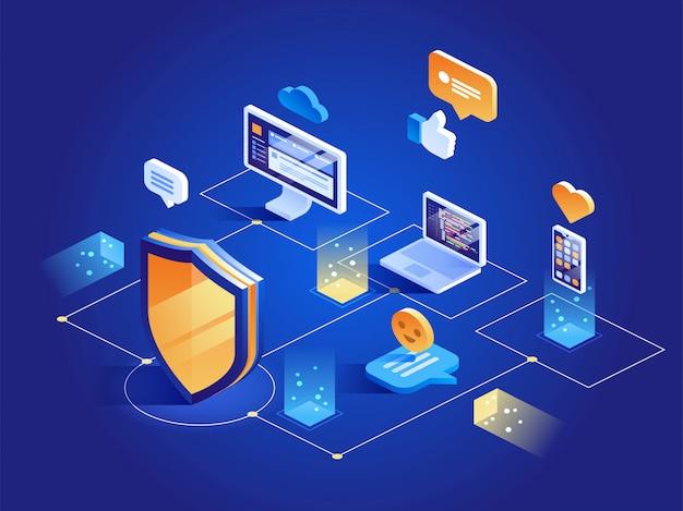 Protección de datos de seguridad isométrica