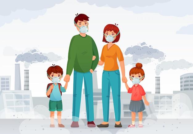 Protección familiar del aire contaminado. personas con mascarillas protectoras n95, humo de la industria e ilustración de máscara segura