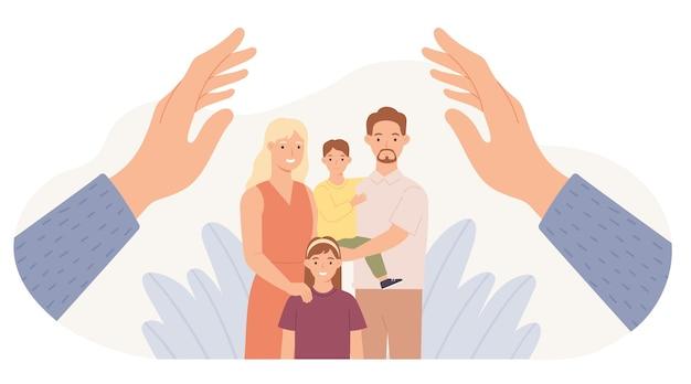 Protección familiar. las manos protegen a padres e hijos. padre, madre, hija e hijo a salvo. concepto de vector de apoyo y cuidado de la salud familiar. niños y esposa con esposo abrazándose juntos