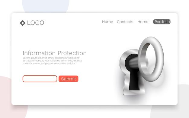 Protección de la información, concepto de página de destino. ilustración vectorial