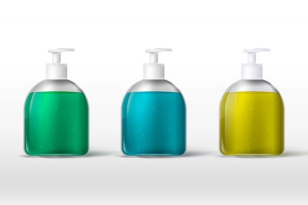 Protección para manos con coronavirus, desinfectante para manos, envase realista 3d, gel para lavado de manos. gel de lavado a mano de alcohol con dispensador de bomba, vector
