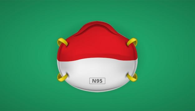 Protección de mascarilla n95 con seguridad de bandera indonesia para el nuevo coronavirus 2019-ncov.