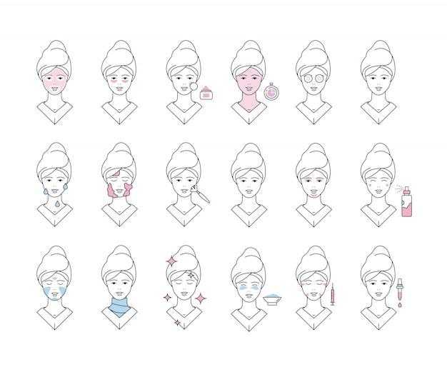 Protección de la piel. mascarilla facial protección facial espuma spa chica maquillaje exfoliante colección de iconos