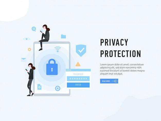 Protección de privacidad aterrizando página web