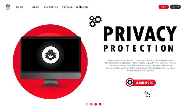 Protección de la privacidad en el banner de la computadora. proceso de trabajo confidencial. vector sobre fondo blanco aislado. eps 10.