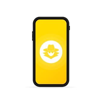 Protección de la privacidad en el banner del teléfono inteligente. proceso de trabajo confidencial. vector sobre fondo blanco aislado. eps 10.