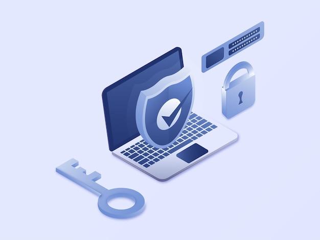 Protección de seguridad de datos antivirus con icono de escudo ilustración vectorial isométrica 3d