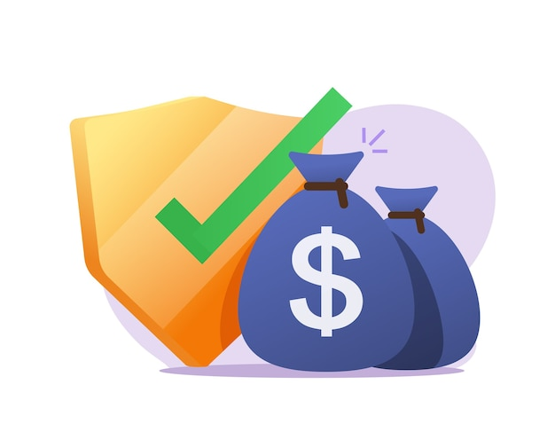 Protección de seguro de dinero o garantías financieras, inversión segura en efectivo o verificación de seguridad de ahorros