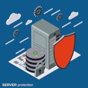 Protección del servidor, concepto de seguridad de red plana isométrica
