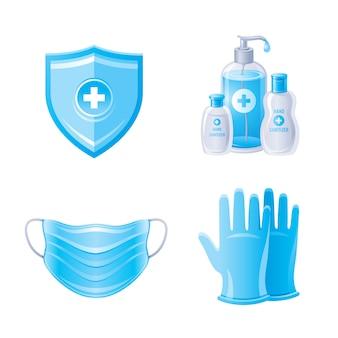 Protección del virus corona covid 19 en color azul. botellas desinfectantes para manos, mascarilla de respiración, guantes, escudo.