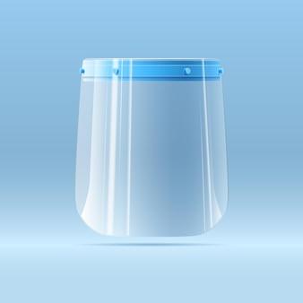 Protector facial de plástico médico para protección respiratoria contra bacterias, infecciones y virus.