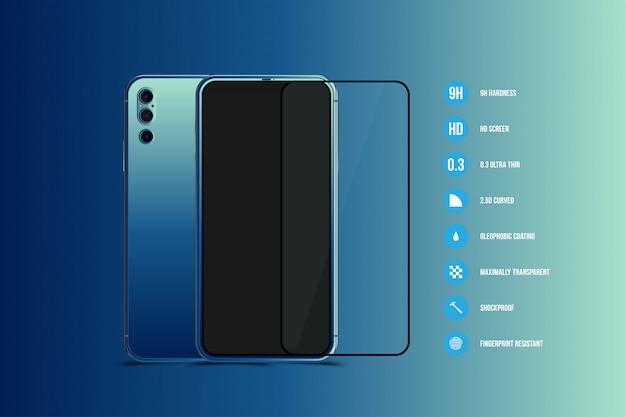 Protector de pantalla de cristal con smartphone realista. parte frontal con pantalla y parte posterior con cámara