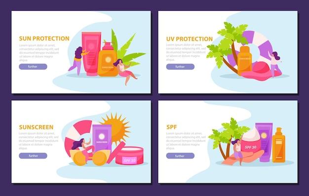 Protector solar para el cuidado de la piel, conjunto plano 4x1 de banners horizontales con botones en los que se puede hacer clic, texto e imágenes editables