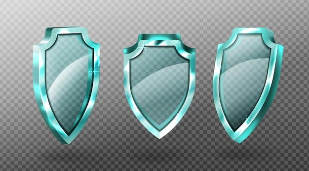 Los protectores de vidrio establecen paneles de pantalla acrílicos azules en blanco