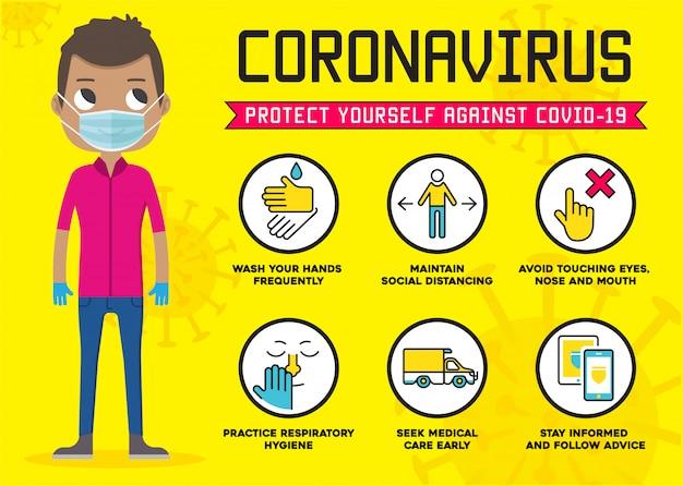 Protégete contra el coronavirus. consejos de precaución covid-19. aislamiento social infografía. medidas de protección 2019-ncov.