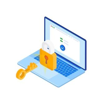 Proteja su información personal de ataques de piratas informáticos en su computadora portátil. información personal. portátil isométrica con candado cerrado sobre un fondo azul.