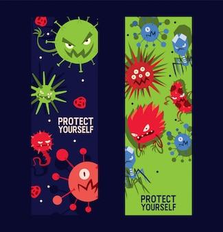 Protéjase conjunto de banners ilustración vectorial. microbios o colección de virus de dibujos animados. malos microorganismos para las personas.