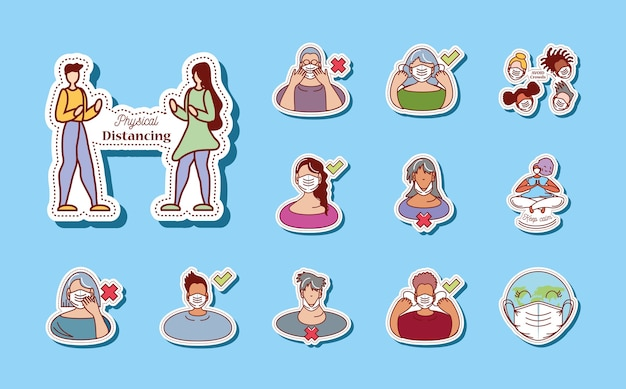 Protéjase consejos del coronavirus covid 19 icons set illustration sticker icon