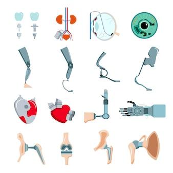Prótesis ortopédica implantes médicos partes del cuerpo artificial colección de iconos planos con válvula cardíaca mecánica