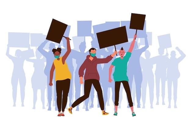 Protesta contra el racismo con personas y pancartas
