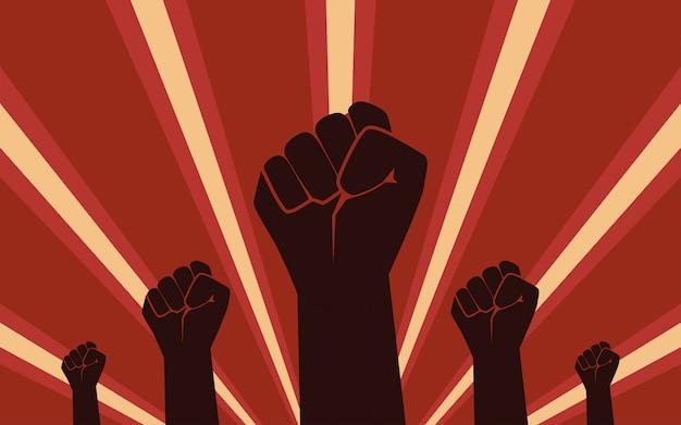 Protesta de la mano de puño levantado en diseño de icono plano sobre fondo de rayos de color rojo