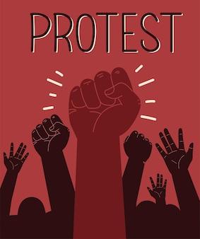 Protesta con las manos del puño