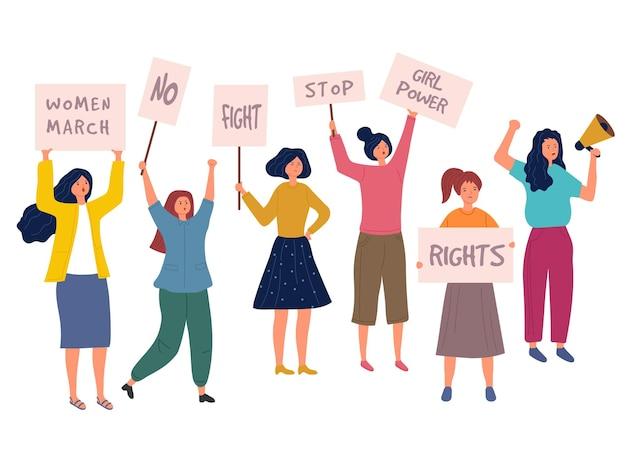 Protesta de mujer. multitud femenina con política de cartel hablando personajes de chicas jóvenes de personas feministas multirraciales.