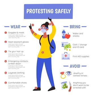 Protesta segura plantilla de infografía
