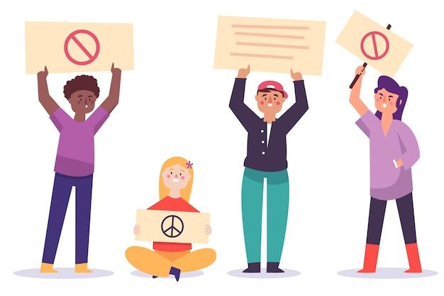 Protestando personas
