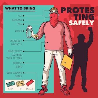 Protestando con seguridad - concepto de infografía