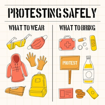 Protestando con seguridad infografía