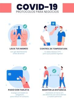 Protocolos de coronavirus para póster comercial