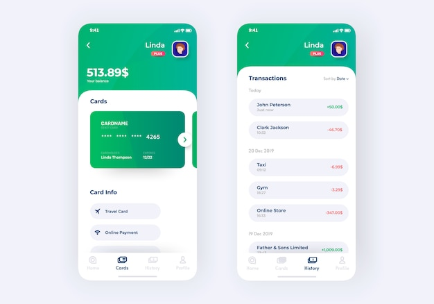 Prototipo del kit de interfaz de usuario de la aplicación bancaria