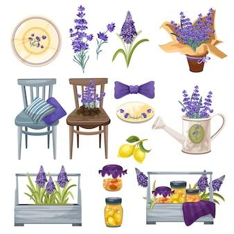Provance juego de decoración del hogar de estilo vintage con flores