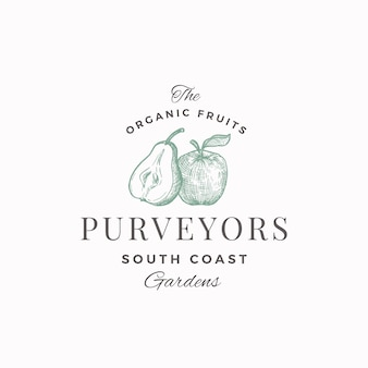 Proveedores de frutas orgánicas resumen signo, símbolo o plantilla de logotipo. la mitad de pera y manzana con bosquejo de siluetas de hojas con elegante tipografía retro. emblema de lujo vintage.