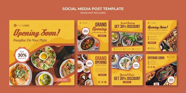Próxima apertura plantilla de publicación en redes sociales para restaurante