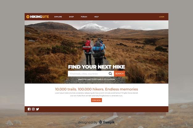 Próxima caminata página de inicio de viaje con foto