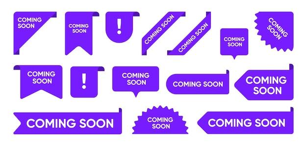 Próximamente conjunto de banners promocionales planos. gran venta brillante y esquinas de nueva llegada, pegatinas y etiquetas de etiquetas colección de ilustraciones vectoriales. concepto de signos y botones de cinta