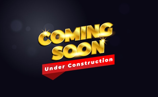 Próximamente en construcción con color dorado y oscuro