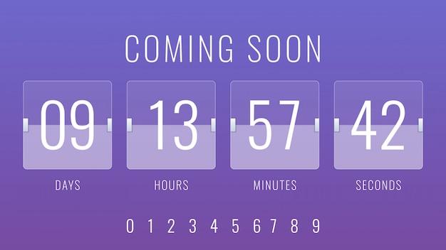 Próximamente ilustración con temporizador de contador de reloj de cuenta regresiva flip
